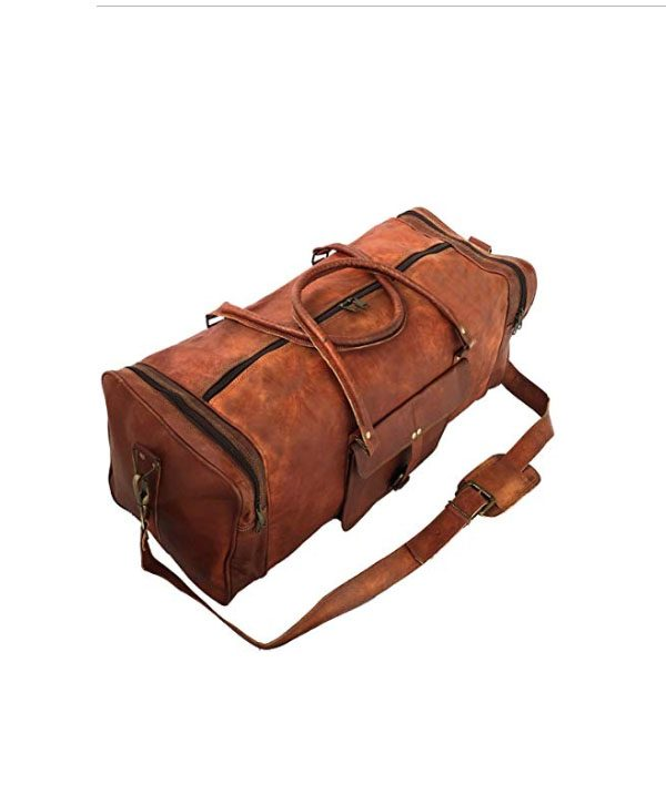 b8b85b0082 Leather 24 Inch Square Duffel Travel Gym Sports Overnight Weekend Leather  Bag. Handmadecart Vintage 24″ Men s Genuine ...